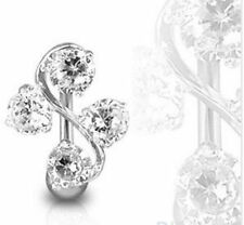 Body Jewelry Piercing Crystal Rhinestone Dangle Navel Belly Button Ring Barbell