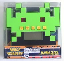 50fifty Space Invaders 1980's Arcade Game Green LED Alarm Clock NEW