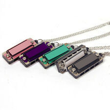 Mini Metal Necklace Harmonica 4 Hole 8 Tone Musical Chain Music Toy New DE