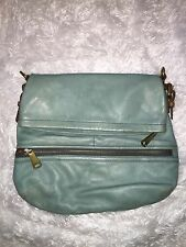 Preowned Fossil Explorer Flap Peacock Blue Vintage Leather Purse