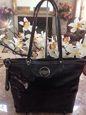 COACH Black Signature C Stitch Patent Leather Tote Shoulder Bag  F 15142 EUC