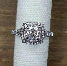 Platinum diamond double halo split shank 1ct Forever Brilliant Moissanite