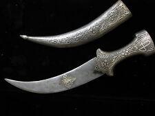 Vintage Damascus Steel Jambiya (Dagger) with koft-gari hilt and sheath
