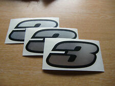 set of 3 - Black & Chrome number 3 decals / stickers IMPACT 60mm