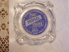 PRATT KANSAS BANK ASHTRAY COOL ADVERTISING GLASS