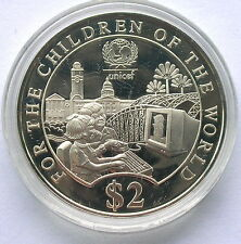Singapore 1997 Save Child UNICEF 2 Dollars Silver Coin,Proof