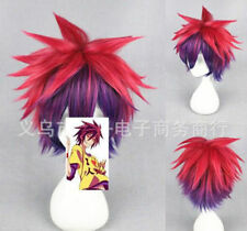 No Game No Life Sora Red Purple Gradient Short Cosplay Party Anime Wig+Hairnet