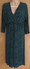 LADIES M&S PER UNA GREEN ANIMAL MOCK WRAP JERSEY DRESS SIZE 16 EUR 44