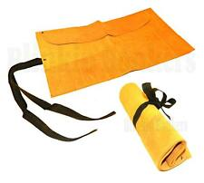 SUEDE LEATHER 12 POCKET CHISEL SPANNER ROLL UP TOOL HOLDER POUCH STORAGE CASE