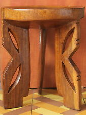 Ethiopia Ethiopian Africa African Art Hand Carved Wood Wooden 3-Leg Stool Chair