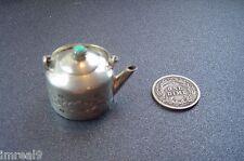 Vtg NAVAJO Elizabeth Whitman Sterling Silver Miniature TEA POT Turquoise Lid