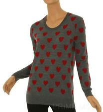 NEW BURBERRY GRAY MELANGE MERINO WOOL HEARTS CREW NECK SWEATER XS XSMALL