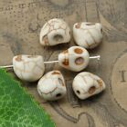 50pcs white Turquoise Carved Skull Head Loose Beads Jewelry Charms Beads 10X8mm