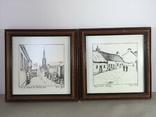 "Two Steven Doyle Prints Drawings 1976 Irish Artist 8.25""x8.25"" Framed"