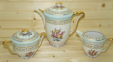 Raynaud & Co Limoges Chocolate Tea Coffee Pot + Creamer & Sugar Bowl w/Lid