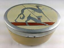 ART DECO METAL OVER SILVER SALUKI & SCOTTIE DOGS ON LID OVAL BEDROOM JAR