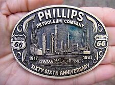 Vtg PHILLIPS 66 Belt Buckle 1983 Petroleum OIL Drilling ADM Oilfield RARE VG++