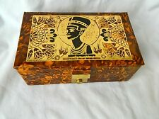 "Egyptian Camel Leather Brown Jewelry Box Queen Nefertiti Design 7"" X 4.25"" #53"