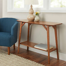 New Modern Mid Century Design Solid Wood Warm Pecan Stand Sofa Console Table