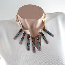 Vintage Limoges France Enamel Necklace Mid Century Modernist Bib Charms Design