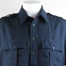 Checkpoint Mens Military Uniform Black Shirt 17-17 1/2 Short Sleeve Mexican