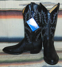 Panhandle Slim Black Lizard / Leather Cowboy Boots Mens 8.5 D / Womens 10 M New
