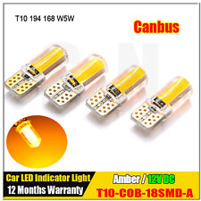 4 X Amber T10 168 194 W5W COB Silicone Canbus LED Car Side Wedge Light Lamp Bulb