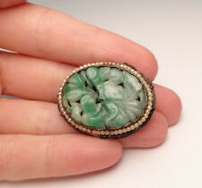 GORGEOUS ANTIQUE CHINESE CARVED JADE DRESS FUR CLIP FILIGREE STERLING SILVER 925