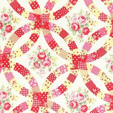 WHITE FLOWER SUGAR FALL ROSES FLORAL #3548 BTY COTTON QUILT LECIEN JAPAN FABRIC