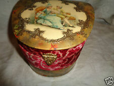 ANTIQUE VICTORIAN FRENCH LADY MAN COURTING VELVET CELLULOID COLLAR DRESSER BOX