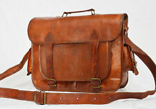 Real leather handmade messenger brown natural strong vintage goat hide bag india