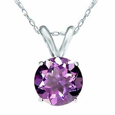 "0.8 Cttw Natural Genuine Amethyst Pendant w/ 14k Solid White Gold 18"" Chain"