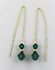 9ct Gold 375 Swarovski Elements Bicone Emerald Green Pull Through Drop Earrings