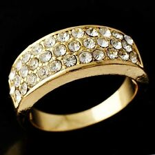 Beauty Special Womens 3-Row Clear CZ  Wedding Ring Yellow Gold Filled Size 7