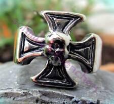 Herrenring Edelstahlring Ring Edelstahl Form v Malteser Kreuz silber Totenkopf