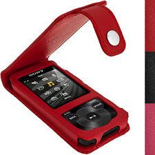 Rot Leder Tasche Hülle für Sony Walkman NWZ-E585 + Schutzfolie & Karabinerhaken