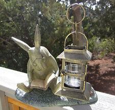 Garden Decor Bunny Rabbit Aluminum Statue Reading Book Candle Lantern Free Ship