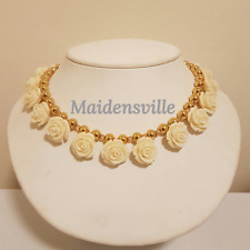 Genuine Carved Coral Swarovski Crystal Gold Ball Wedding Necklace + FREE Box