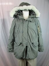 Vintage Lancer Mens Extreme Cold Army Green PARKA N-3B Coat w/ HOOD Faux Fur Lg.