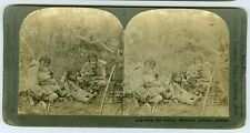 B8026~ Indian Stereoview Malamute Indians Eating Lunch Alaska