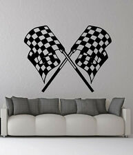 Removable Vinyl Sticker Mural Decal Wall Decor Checkered Race Flag Emblem VY469
