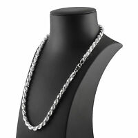 MEN'S HEAVY SILVER ROPE CHAIN DIAMOND CUT SOLID STERLING SILVER