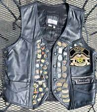 "HARLEY DAVIDSON MOTORCYCLE 100% LEATHER VEST SIZE ""XL"" WITH HARLEY PINS"