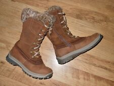 real LEATHER chunky lace up fur trim boots size 5 uk