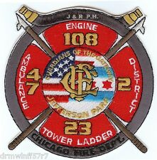 "Chicago  Engine-108 / TL-23 / Dist.-2 / Amb-47, IL (4.5"" x 4.5"" size) fire patch"