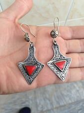 TURKOMAN ETHNIC TRIBAL HAND MADE CORAL .925 STERLING SILVER EARRINGS