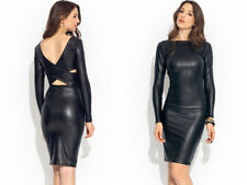 Sexy Lady Womens Dress PVC Club Wear Wet Look Faux Leather Black Long Sleeve A47