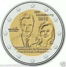 """Pièce commémorative 2 euros LUXEMBOURG 2015 """"Accession au trône du Duc Henri"""""""