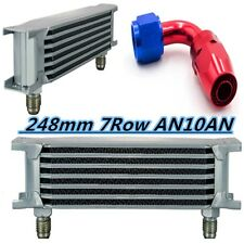Universal 7Row AN10AN Engine Transmission 248mm Oil Cooler w/Fittings Kit Silver