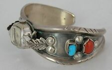 Old Navajo Sterling silver Turquoise & Coral cuff bracelet watch band elegant